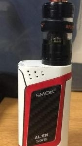 Alien 220w (white and red), with a Crown V3 Tank